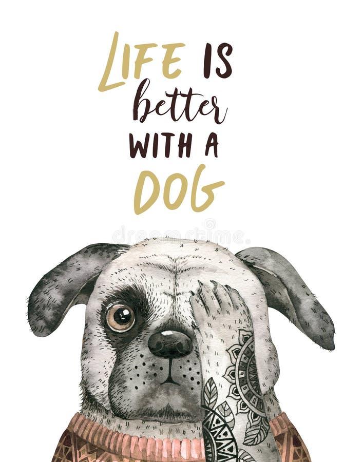 Портрет крупного плана акварели милой собаки белизна изолированная предпосылкой Любимчик нарисованный рукой сладостный домашний Ж иллюстрация вектора