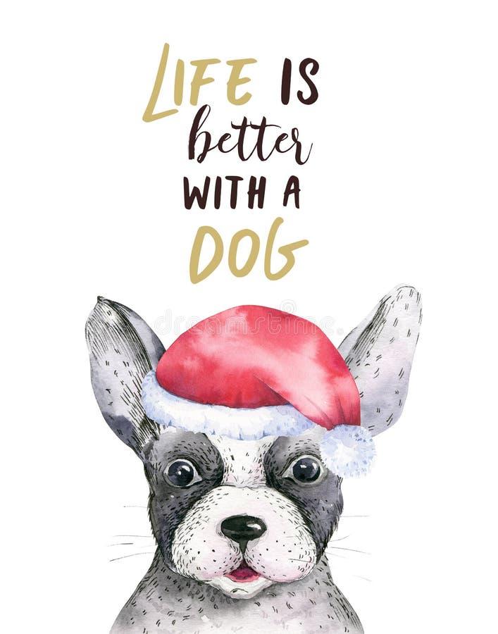 Портрет крупного плана акварели с Рождеством Христовым милой собаки белизна изолированная предпосылкой Новый Год нарисованный рук иллюстрация штока