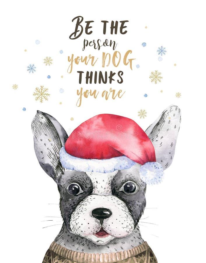 Портрет крупного плана акварели с Рождеством Христовым милой собаки белизна изолированная предпосылкой Новый Год нарисованный рук иллюстрация вектора