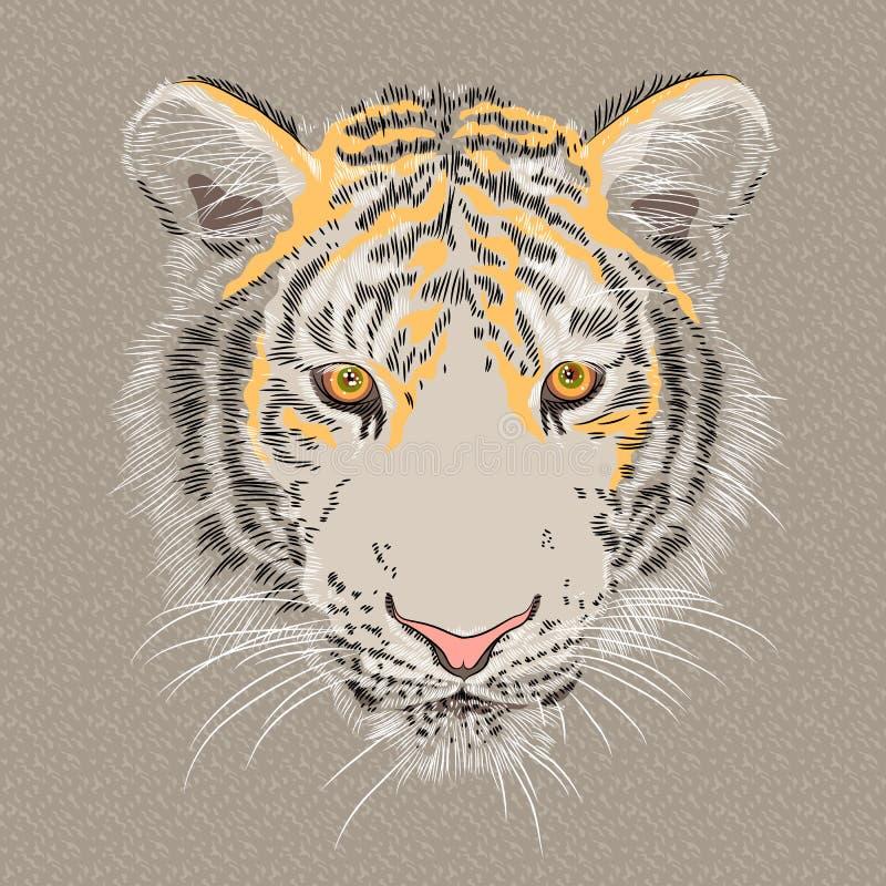Портрет крупного плана вектора серьезного тигра бесплатная иллюстрация