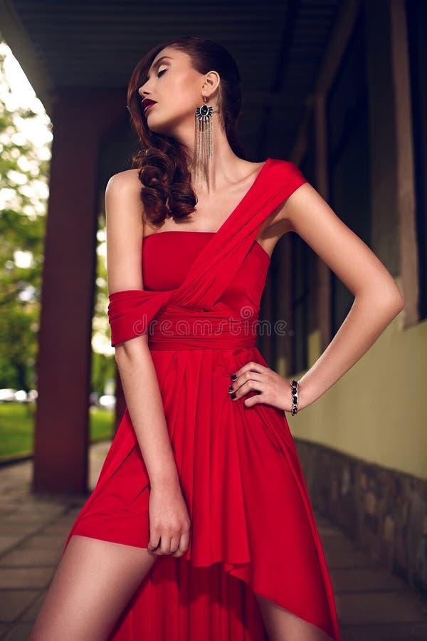 Портрет крупного плана очарования модели молодой женщины красивого сексуального стильного брюнет кавказской с ярким составом, с кр стоковая фотография rf