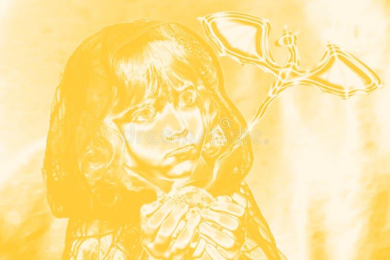 портрет курчавого мальчика с драконом желтым стоковое фото rf