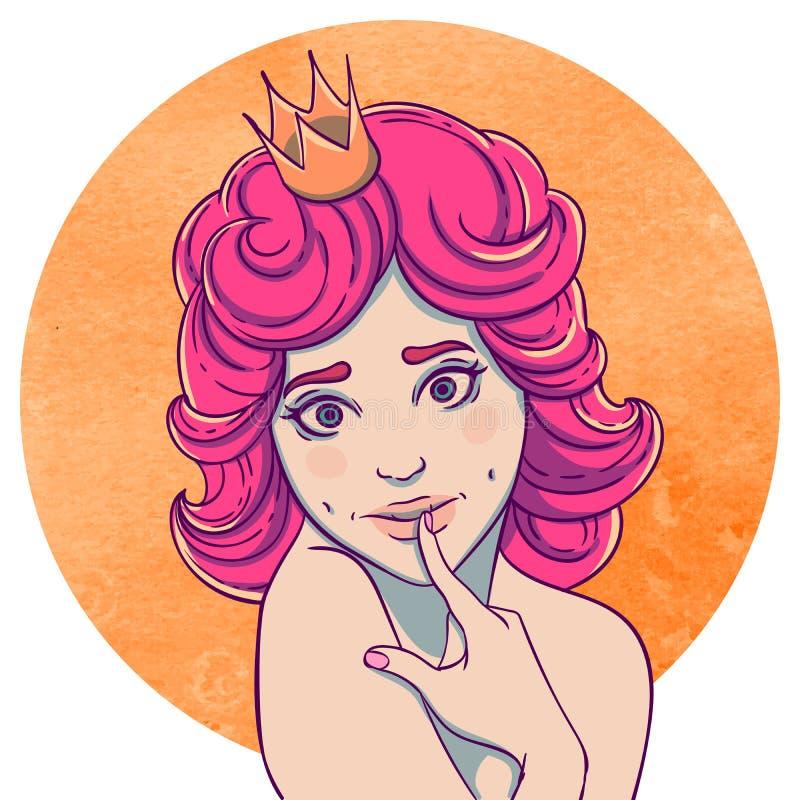 Портрет курчавой молодой красивой девушки иллюстрация вектора