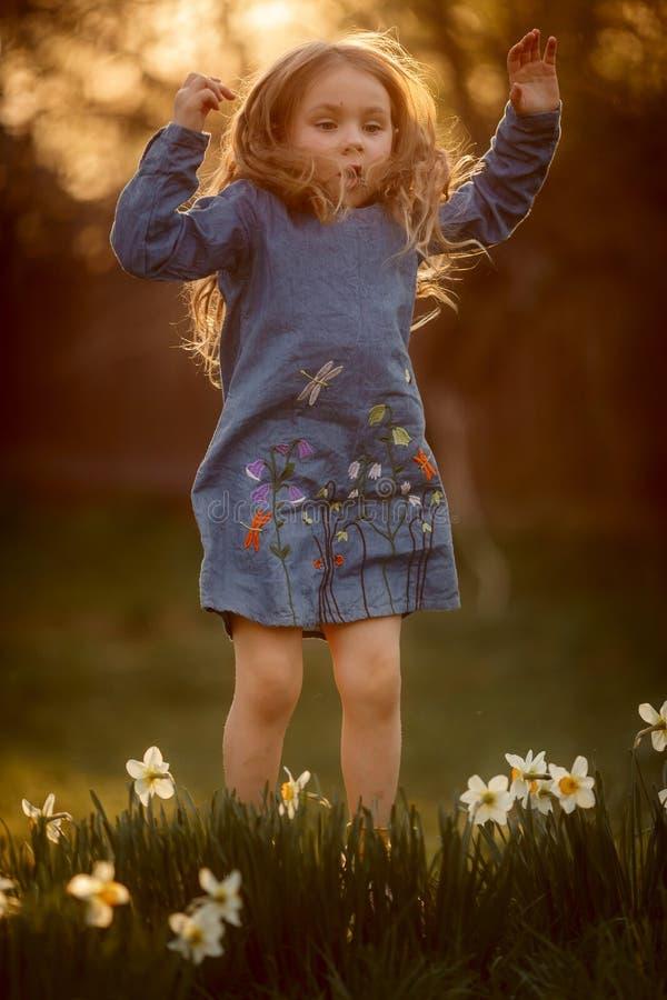 Портрет маленькой девочки на открытом воздухе около цветков narcissus на заходе солнца стоковая фотография