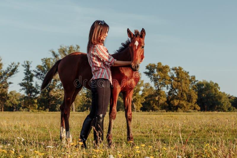 Портрет маленькой девочки с осленком на ферме стоковые фотографии rf
