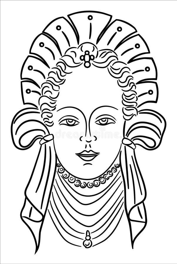 Портрет маленькой девочки с старым стилем причёсок иллюстрация штока