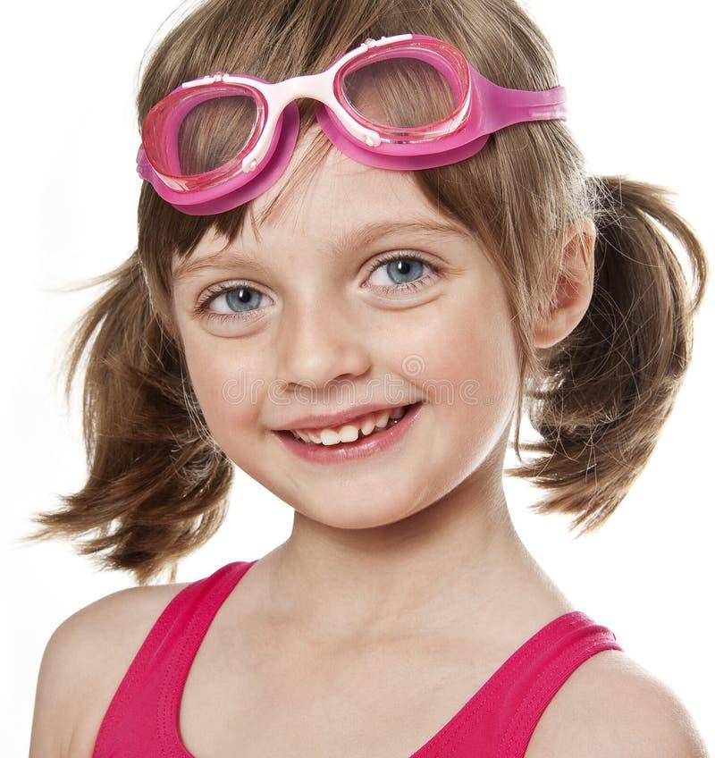 Портрет маленькой девочки с стеклами swim стоковая фотография rf