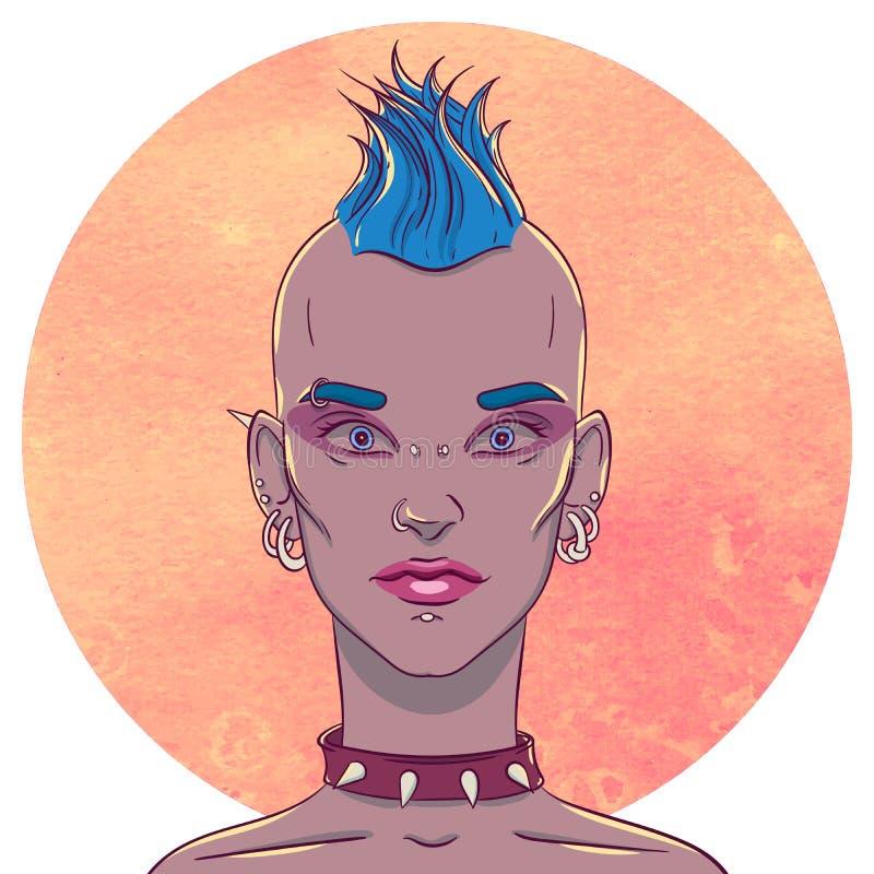 Портрет маленькой девочки с стилем причёсок и прошивками mohawk на предпосылке бесплатная иллюстрация