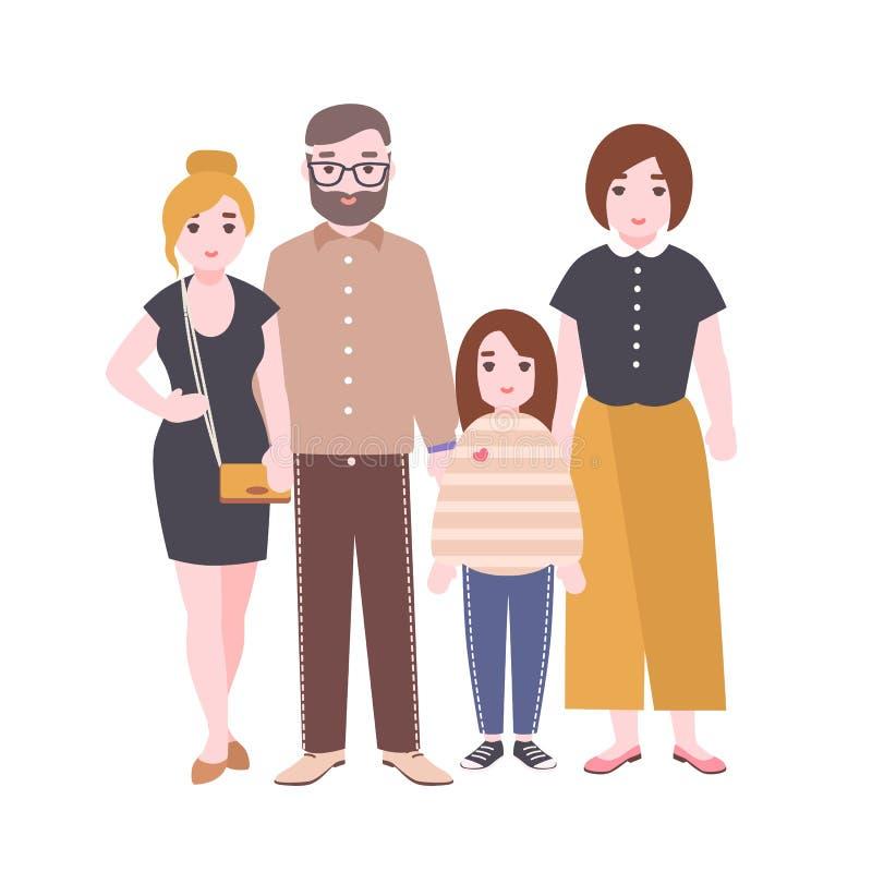 Портрет милой любящей семьи Мать, отец и дети стоя совместно Родители и дочи шарж медведя авиатора рисует игрушечный неба смешной иллюстрация вектора
