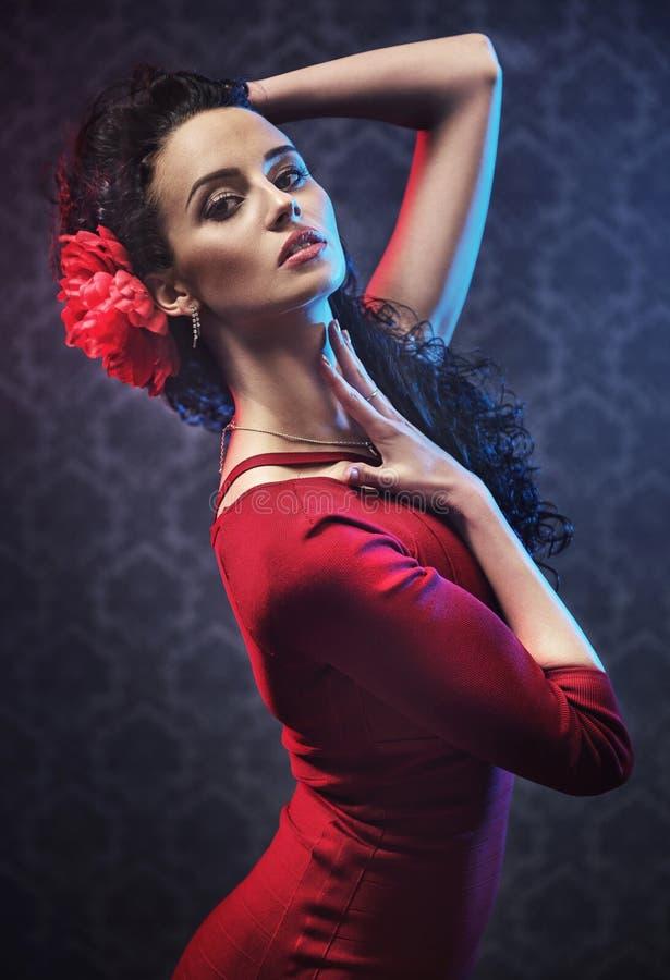 Портрет милого танцора фламенко стоковое изображение rf