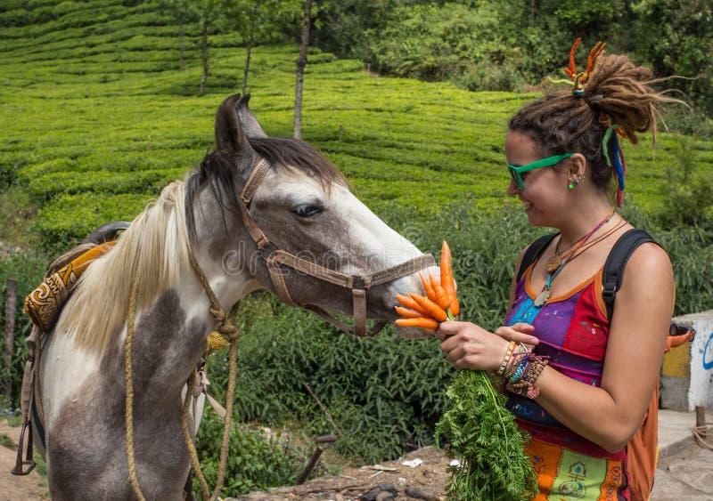 Портрет милой молодой женщины с лошадью стоковое изображение rf