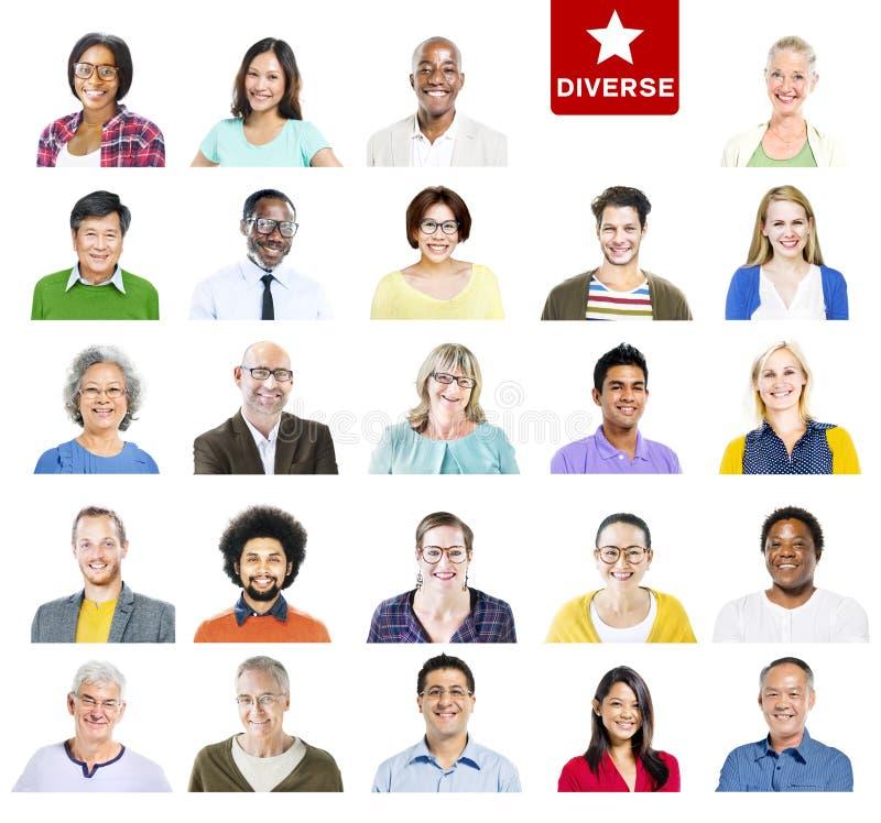 Портрет многонациональных красочных разнообразных людей стоковое изображение rf