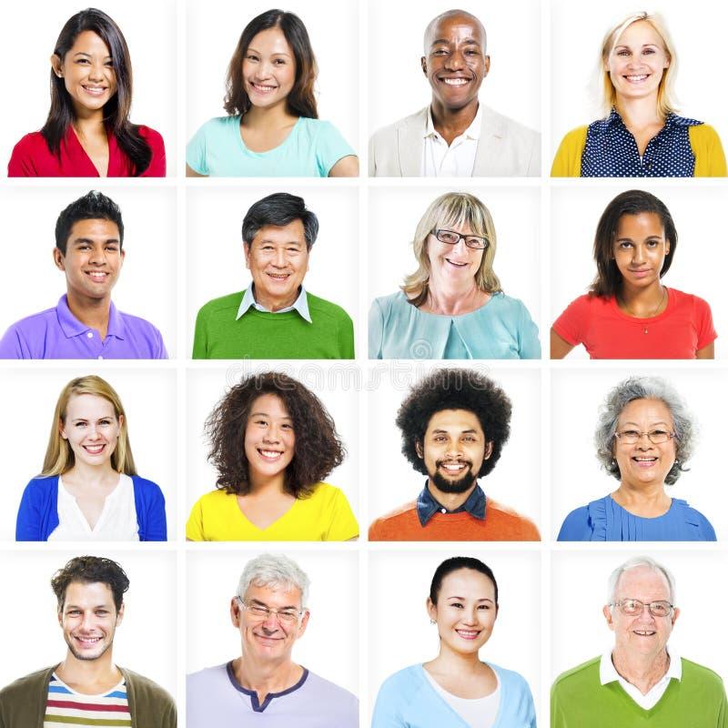Портрет многонациональных красочных разнообразных людей стоковая фотография rf