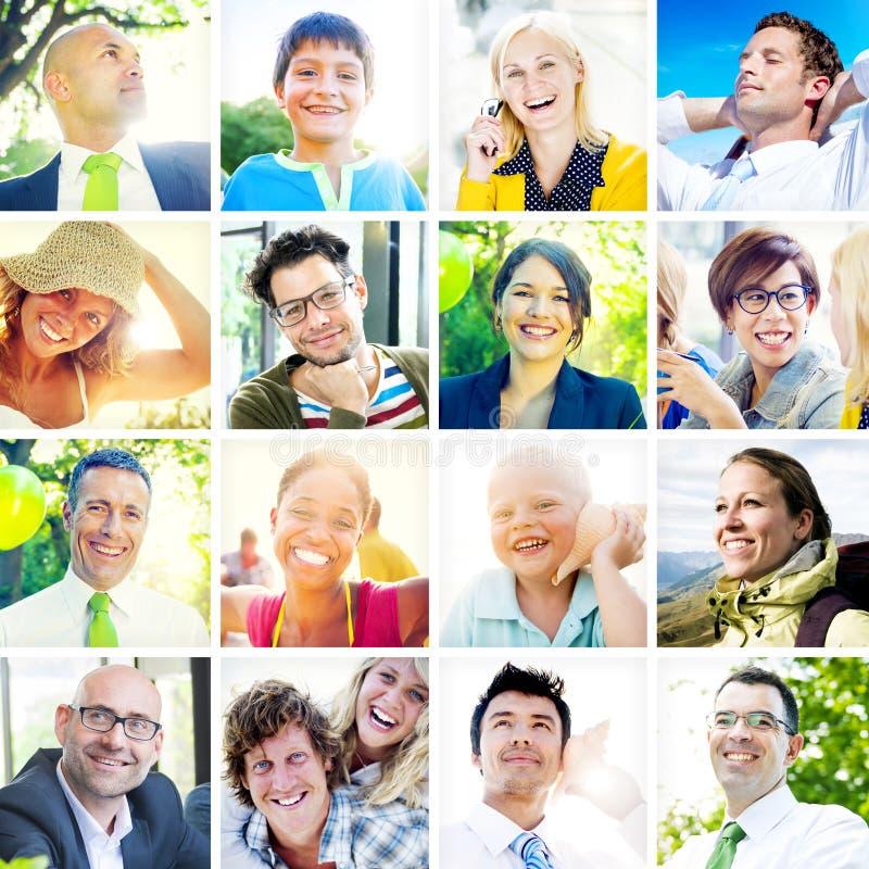 Портрет многонациональных разнообразных жизнерадостных людей стоковое изображение