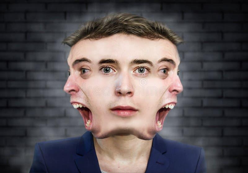 Портрет множественного человека стороны странный над предпосылкой стены стоковая фотография rf