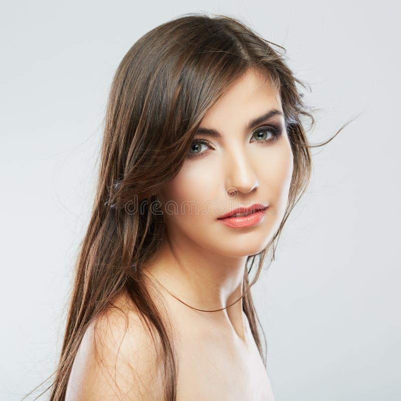 Портрет моды прически женщины изолировано стоковая фотография rf
