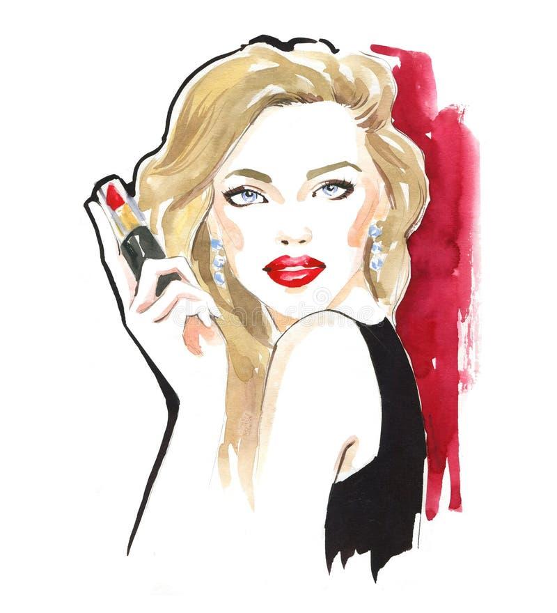 Портрет моды стильной дамы Яркий макияж губной помады Стильная молодая женщина Иллюстрация моды акварели стоковая фотография rf