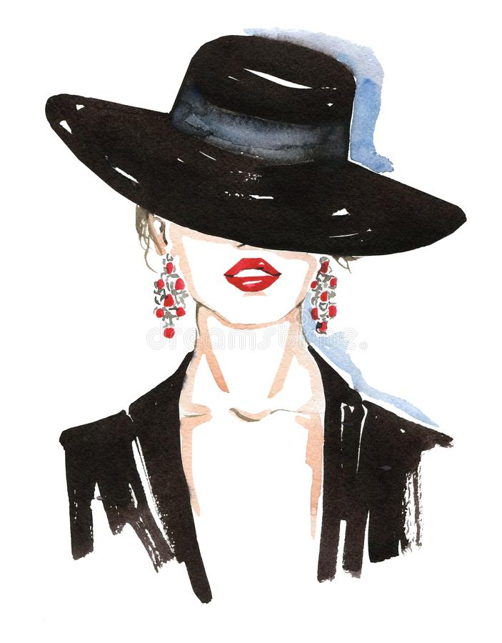 Портрет моды стильной дамы Яркий макияж губной помады Стильная молодая женщина Иллюстрация моды акварели стоковые изображения rf