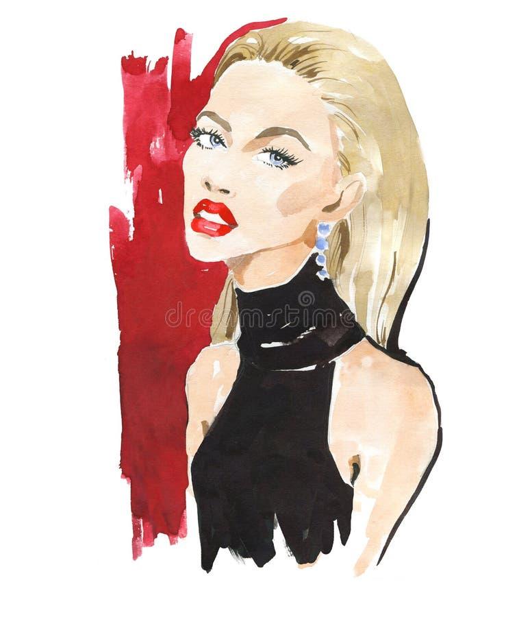 Портрет моды стильной дамы Яркий макияж губной помады Стильная молодая женщина Иллюстрация моды акварели стоковые фото