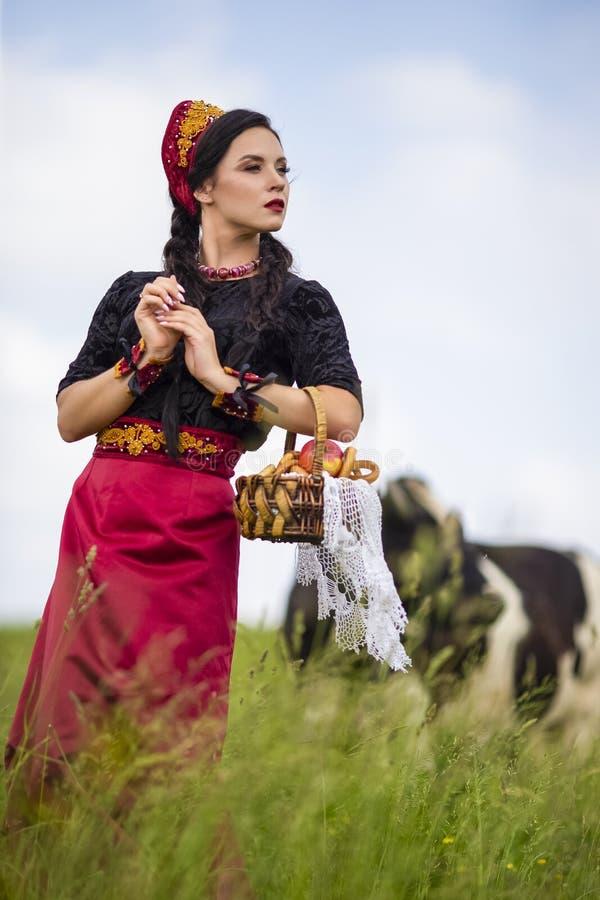 Портрет моды чувственного кавказского брюнета в русском Kokoshnik с корзиной колец хлеба Представлять против Outdoors коровы стоковое фото rf