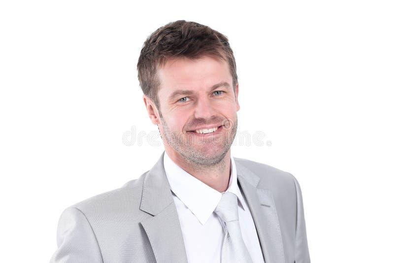 Портрет молодого бизнесмена в сером костюме стоковое фото rf
