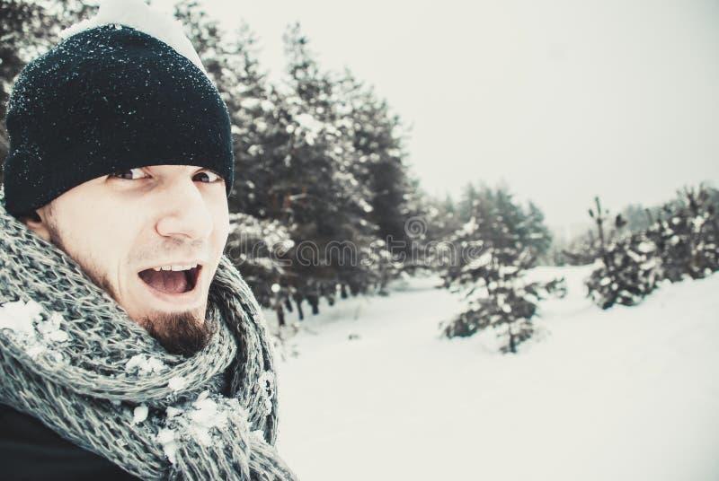 Портрет молодого красивого человека с бородой красивейшие перчатки девушки зеленеют уклад жизни ландшафта над зимой снежка шарфа стоковое фото