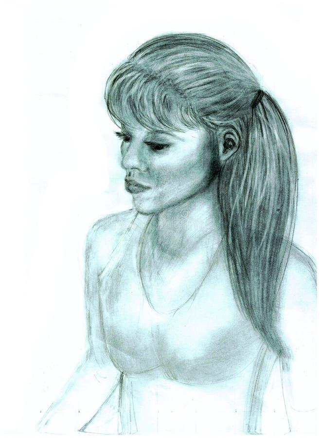 Портрет молодой женщины к талии иллюстрация штока