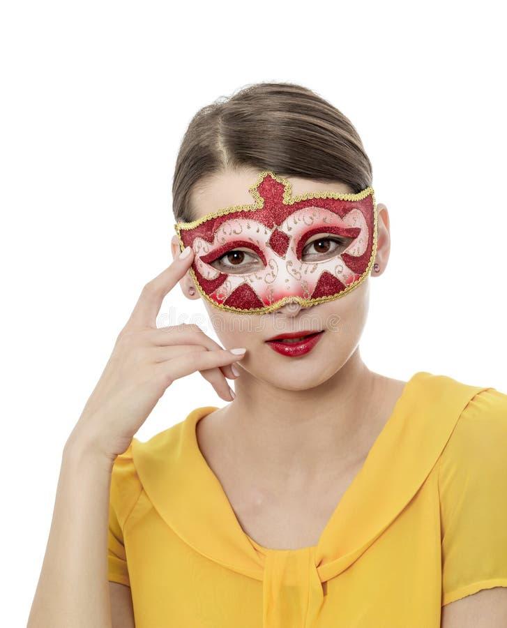Портрет молодой женщины с маской стоковые фотографии rf