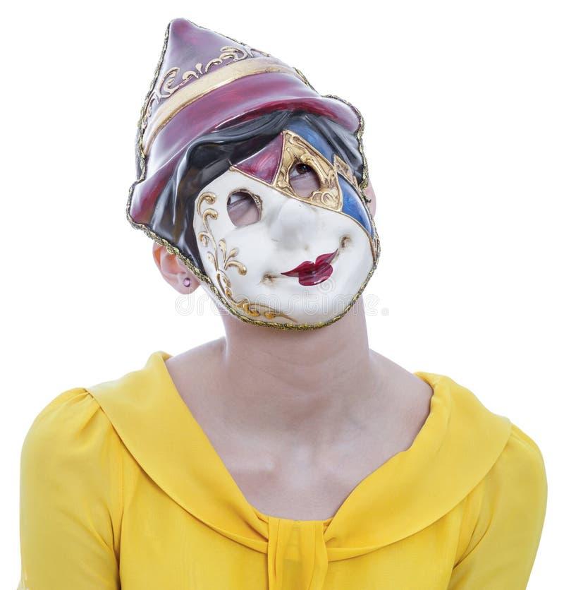 Портрет молодой женщины с маской Pinocchio стоковые изображения rf
