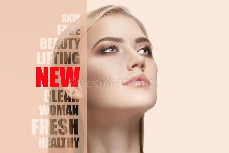 Портрет молодой, здоровой и красивой женщины Пластическая хирургия, медицина, курорт, косметики и концепция выражения лица стоковые фото