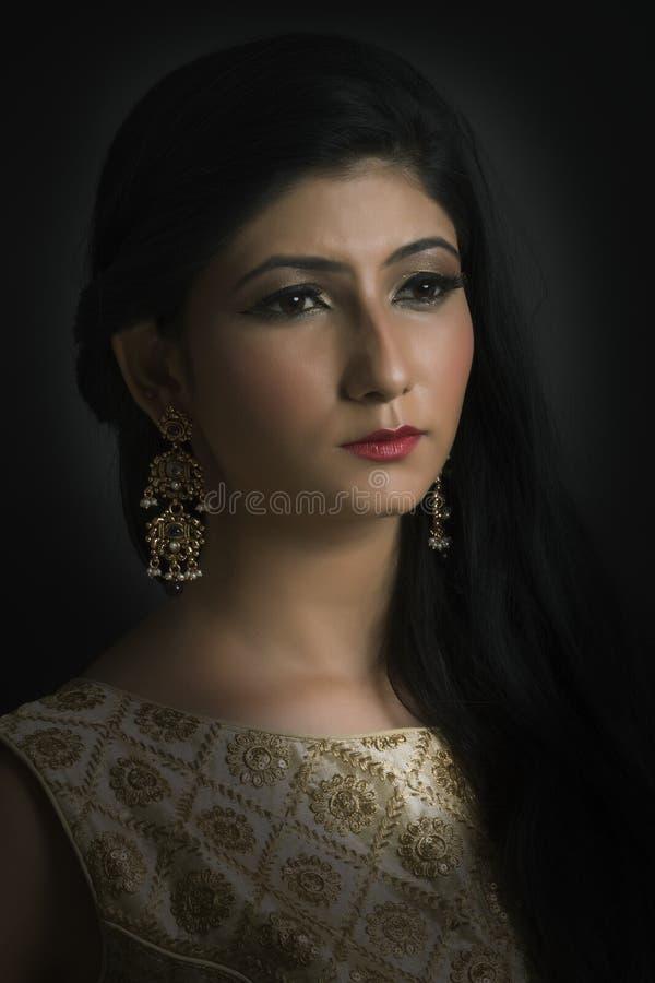 Портрет молодой индийской дамы в традиционной носке стоковые фотографии rf