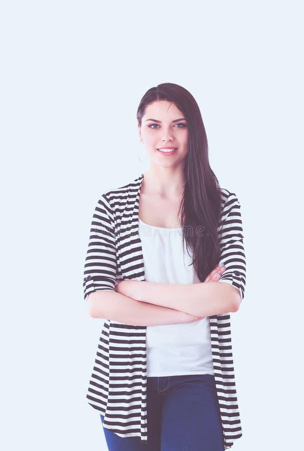 Портрет молодой коммерсантки пока представляющ ее проект на борту стоковое изображение rf