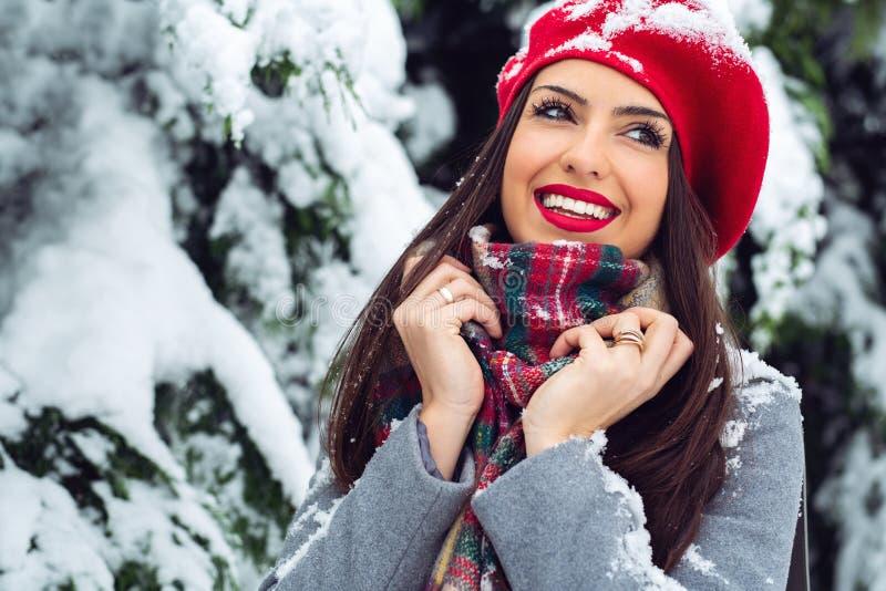 Портрет молодой красивой женщины в зимнем времени - изображении стоковое фото