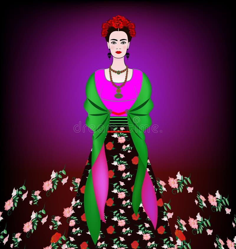 Портрет молодой красивой мексиканской женщины с традиционным стилем причёсок Мексиканские серьги черепов, крона красных цветков бесплатная иллюстрация