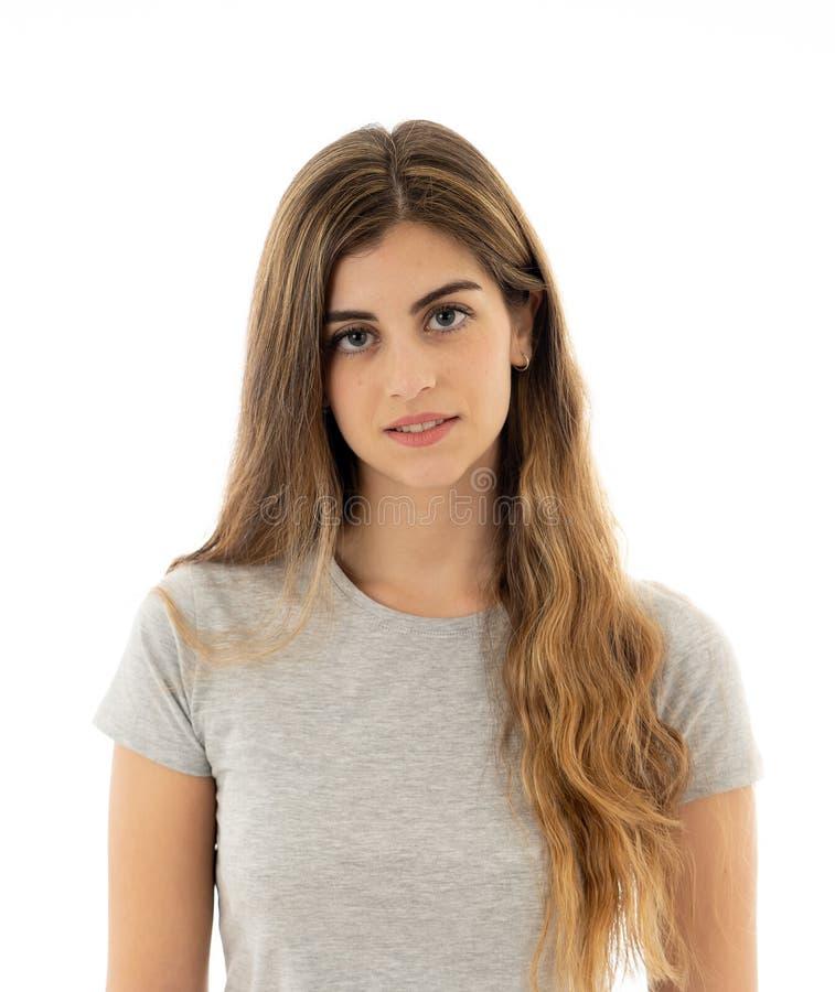 Портрет молодой привлекательной жизнерадостной женщины с усмехаясь счастливой стороной Человеческие выражения и эмоции стоковые фотографии rf
