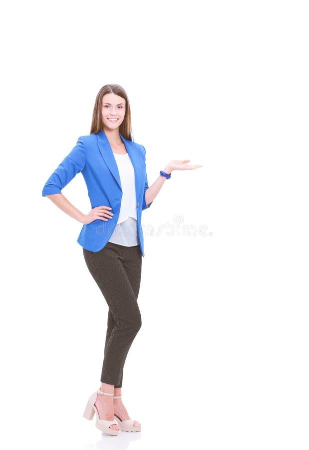 Портрет молодой указывать бизнес-леди стоковые фотографии rf