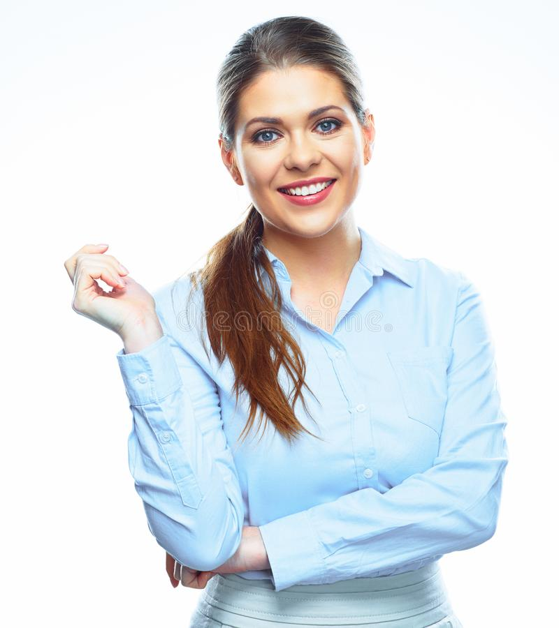 Портрет молодой усмехаясь бизнес-леди на белой предпосылке стоковые фотографии rf