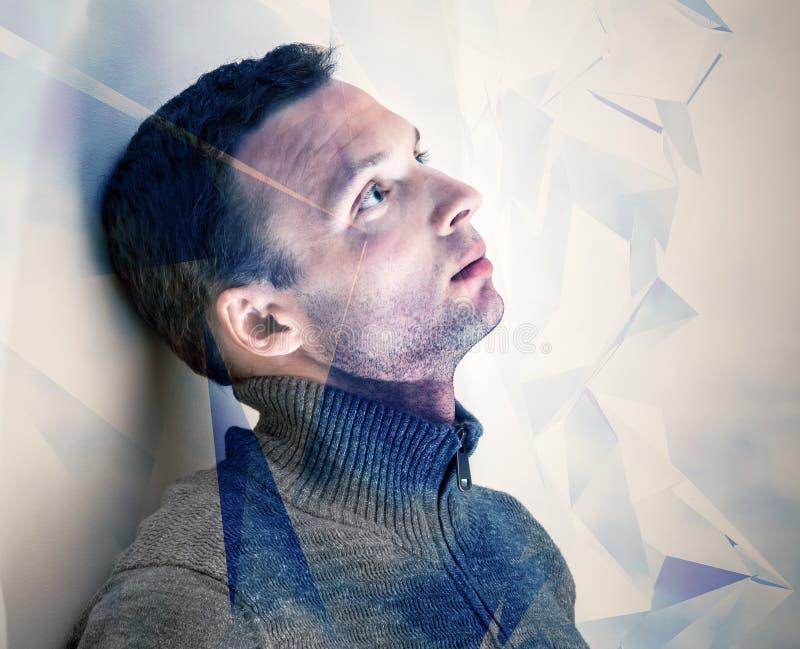 Портрет молодого мечтательного человека схематический стоковое изображение rf