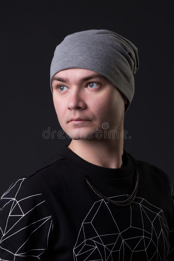 Портрет молодого парня битника стоковое фото rf