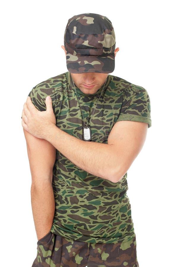 Портрет молодого солдата армии стоковое фото rf