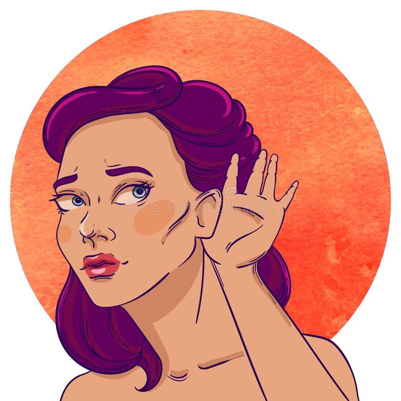 Портрет молодого слушая девушк-брюнет иллюстрация вектора