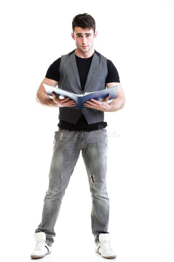 Download Портрет молодого, успешного, счастливого изолированного студента Стоковое Фото - изображение насчитывающей кавказско, выражение: 33734512