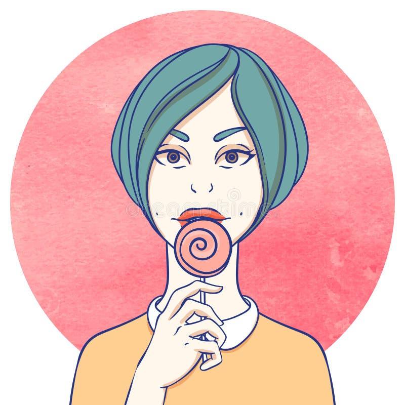 Портрет молодой девушки cutie иллюстрация вектора