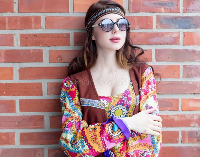 Портрет молодой девушки hippie стоковые фотографии rf