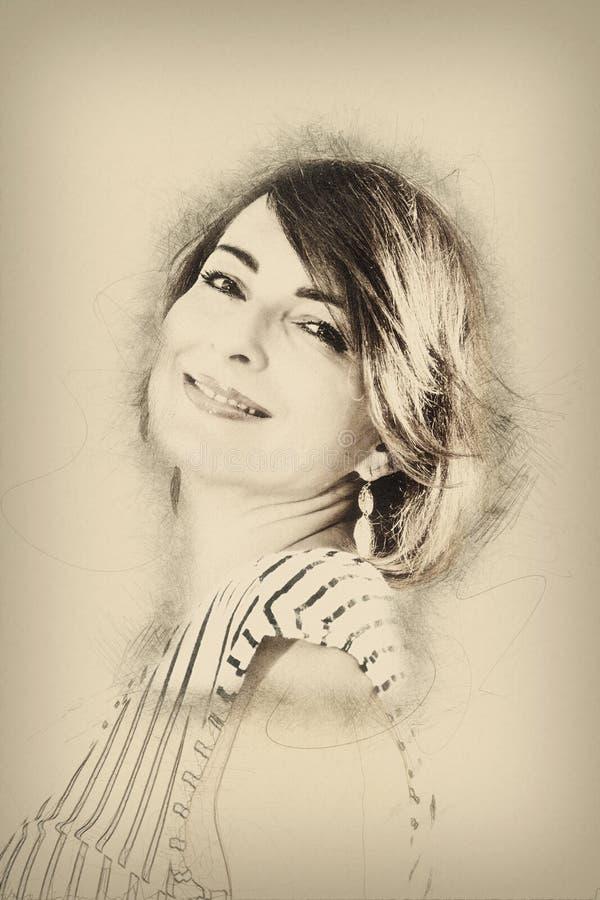 Портрет молодой женщины, чертежа карандаша стоковые фото