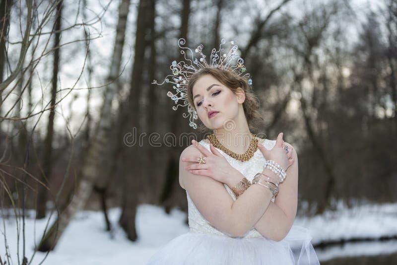 Портрет молодой красивой женщины нося крону с Rhinest стоковые изображения rf