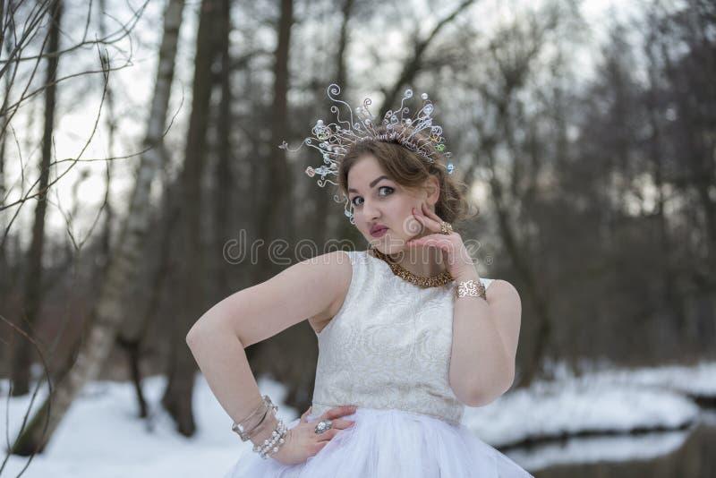 Портрет молодой красивой женщины нося крону с Rhinest стоковое фото