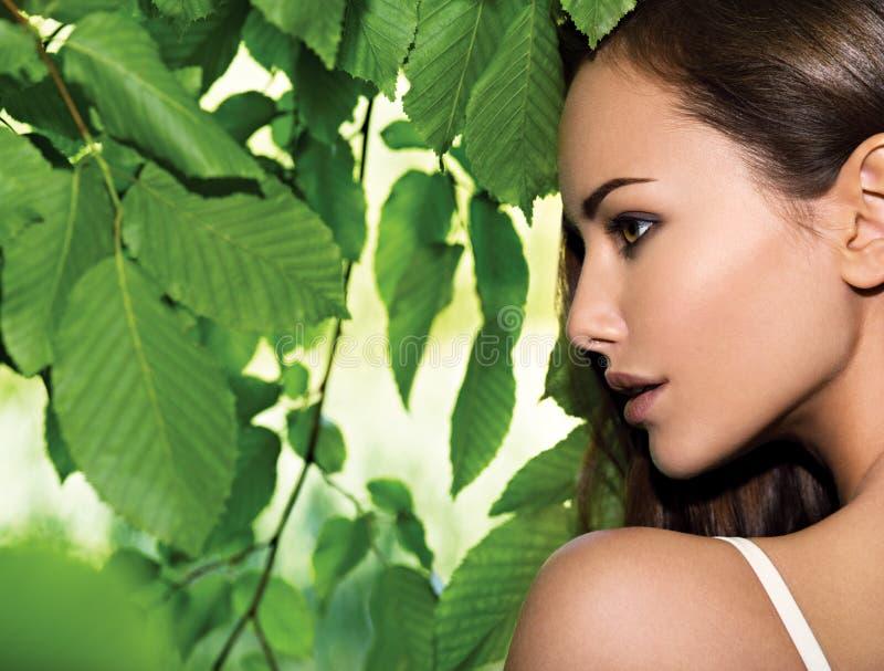 Портрет молодой красивой женщины с длинными волосами стоковое фото rf
