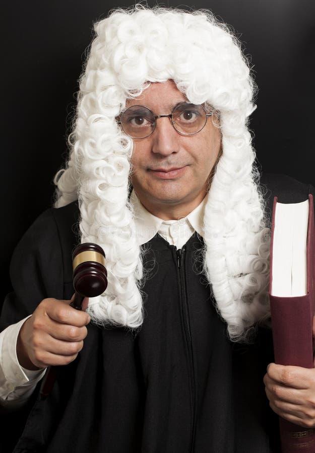 Портрет мужских молотка и книги судьи удерживания юриста стоковое изображение rf