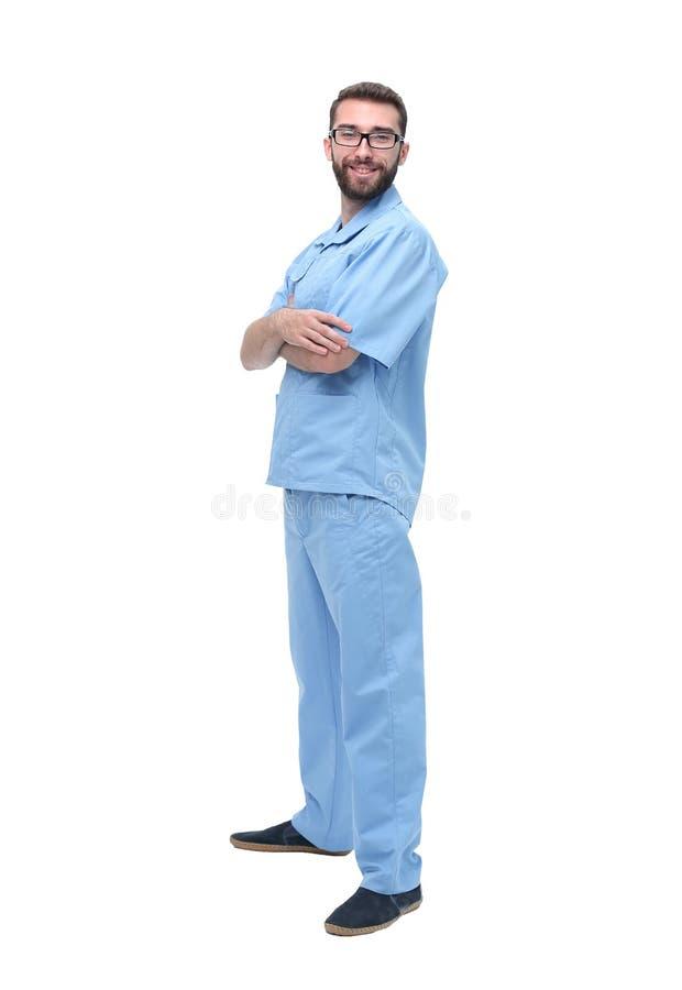 Портрет мужского хирурга изолированный на белизне стоковая фотография rf
